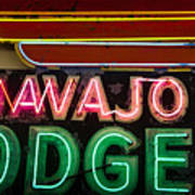 The Navajo Lodge Sign In Prescott Arizona Poster
