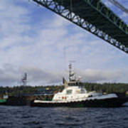 The New Tacoma Narrows Bridge - Foss Tug Poster
