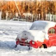 The Old Farm Truck In The Snow Poster
