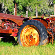 The Old Tractor In The Field Poster