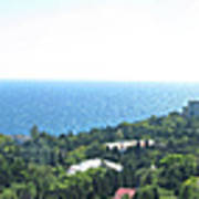 the panorama of the ancient castle on a rock, the symbol of the Republic of Crimea on the background Poster