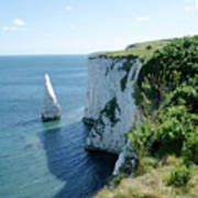 The Pinnacle Stack Of White Chalk From The Cliffs Of The Isle Of Purbeck Dorset England Uk Poster by Andy Smy