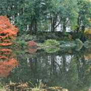 The Pond In Central Park In Fall Poster