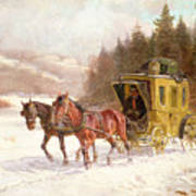 The Post Coach In The Snow Poster by Fritz van der Venne