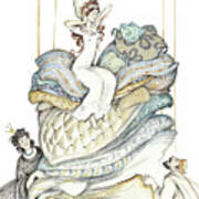 The Princess And The Pea, Illustration For Classic Fairy Tale Poster