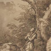 The Prodigal Son Kneeling Repentant Among Swine Poster