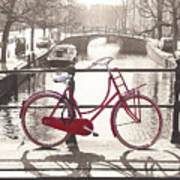 The Red Bicycle Of Amsterdam Poster