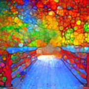The Red Bridge In Autumn Poster