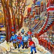 The Red Staircase Painting By Montreal Streetscene Artist Carole Spandau Poster