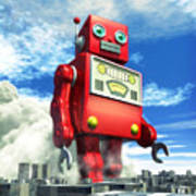 The Red Tin Robot And The City Poster
