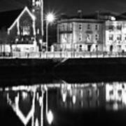 The River Liffey Reflections Bw Poster