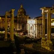 The Roman Forum At Night Poster
