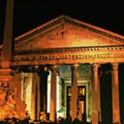 The Roman Pantheon At Night Poster