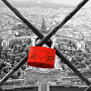 The Romantically Love Inscribed Padlocks On The Eiffel Tower, Pa Poster
