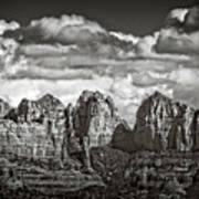 The Rugged Red Rocks In Black And White  Poster