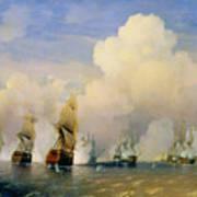 The Russo Swedish Sea War Near Kronstadt In 1790  Poster by Aleksei Petrovich Bogolyubov