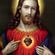 The Sacred Heart Of Jesus Poster by English School