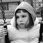 The Sad Girl On A Swing Poster