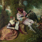 The Scale Of Love Poster by Jean-Antoine Watteau