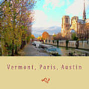 The Seine And Quay Beside Notre Dame, Autumn Cover Art Poster