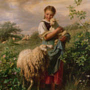 The Shepherdess Poster by Johann Baptist Hofner