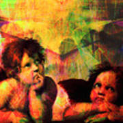 The Sistine Modonna Baby Angels In Abstract Space 20150622 Poster