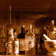 The Snake Oil Shop - Sepia Poster