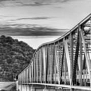 The South Llano River Bridge Black And White Poster