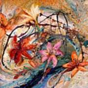 The Splash Of Life 17. Humming-bird And Exotic Flowers Poster