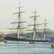 The Square-rigged Australian Clipper Old Kensington Lying On Her Mooring Poster
