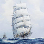 The Square-rigged Wool Clipper Argonaut Under Full Sail Poster