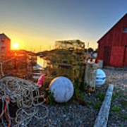 The Sun Rising By Motif 1 In Rockport Ma Bearskin Neck Lobster Traps Poster