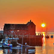 The Sun Rising By Motif Number 1 In Rockport Ma Bearskin Neck Poster