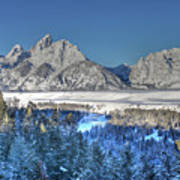 The Sun Rising On The Tetons Poster
