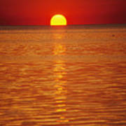 The Sun Sinks Into Pamlico Sound Seen Poster