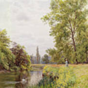 The Thames At Purley Poster by William Bradley