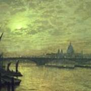 The Thames By Moonlight With Southwark Bridge Poster