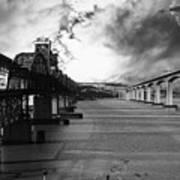 The Three Benicia-martinez Bridges . A Journey Through Time . Black And White Poster