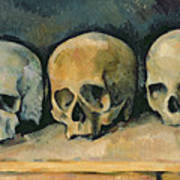 The Three Skulls Poster by Paul Cezanne