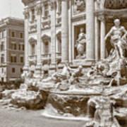 The Trevi Fountain In Sepia Tones Poster