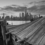 The Twisted Pier Panorama Bw Poster
