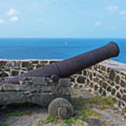 The View From Fort Rodney On Pigeon Island Gros Islet Saint Lucia Cannon Poster