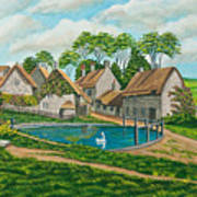 The Village Pond In Wroxton Poster