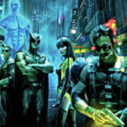 The Watchmen,nite Owl, Silk Spectre II, Roschach, Dr. Manhattan, Ozymandias, The Comedian Poster