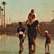The Way From The Village. Time Of Inundation. Egypt Poster