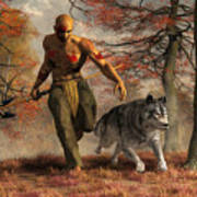 The Wolf Teaching Man To Hunt Poster