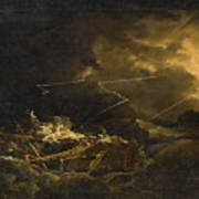 The Wreck Of The H.m.s. Deal Castle Off Puerto Rico During The Great Hurricane Of 1780 Poster