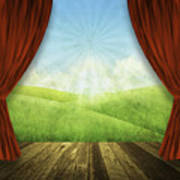 Theater Stage With Red Curtains And Nature Background  Poster
