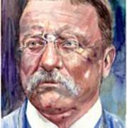 Theodore Roosevelt Watercolor Portrait Poster