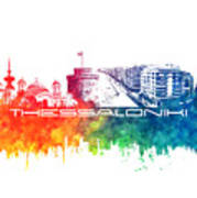 Thessaloniki Skyline City Color Poster